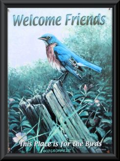"""This Place Is For The Birds!""..... Bluebirds, that is, not House Sparrows!   We have this up to welcome our visitors!"
