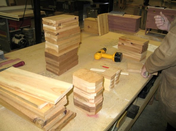 Here is the making of my first 14 boxes of the trail -- photo taken in January 2007.