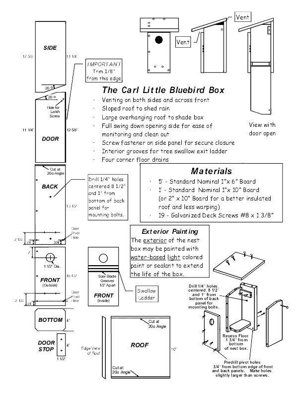 Build Eastern Bluebird Bird House Plans DIY PDF wood bench