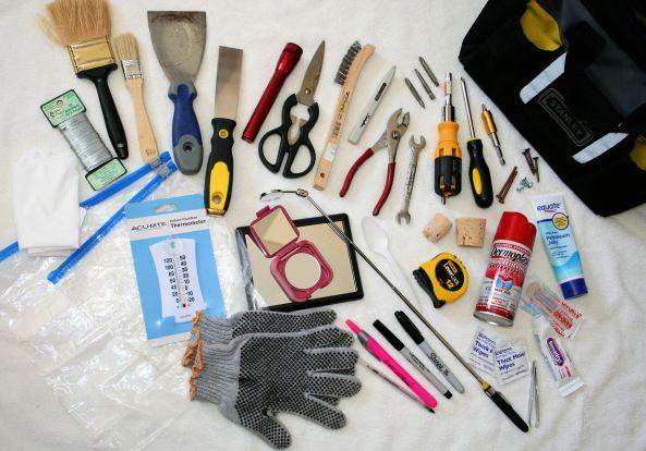 """Check out all the tools and """"stuff"""" that helps me on the trail.  Can you guess what everything is for?  This is pretty typical of my 1-2 x a week monitoring tools I take to each nestbox."""