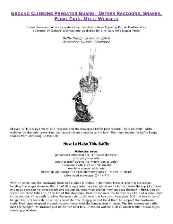 Ground Climbing Predator Baffle-Kingston with Illustration